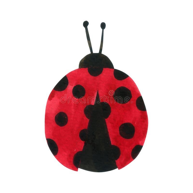 Собрание акварели шаржа Ladybug на белой предпосылке, руке нарисованный характер для детей, поздравительная открытка, случаи конс стоковое изображение