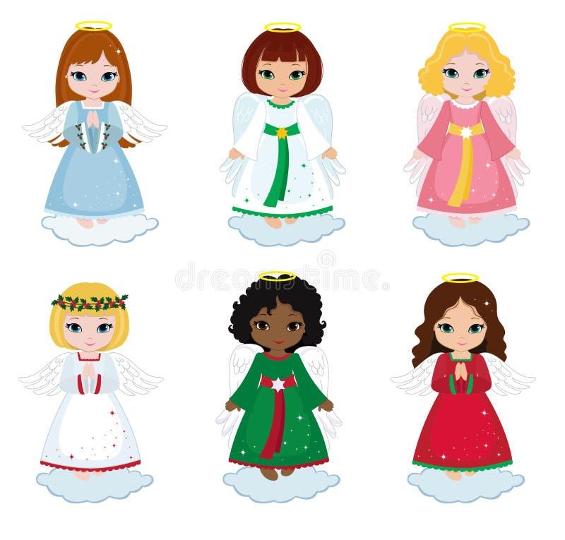 Собрание ангелов рождества на белой предпосылке иллюстрация штока