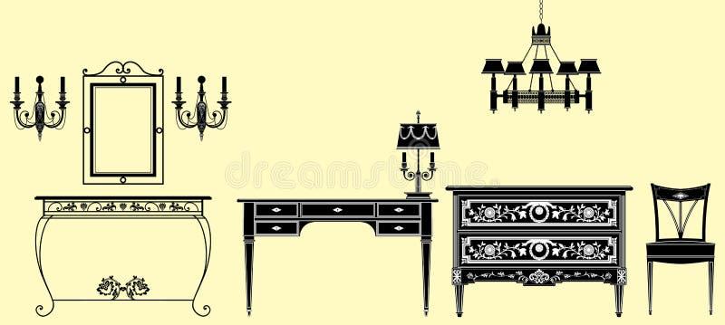 Собрание античной мебели иллюстрация вектора