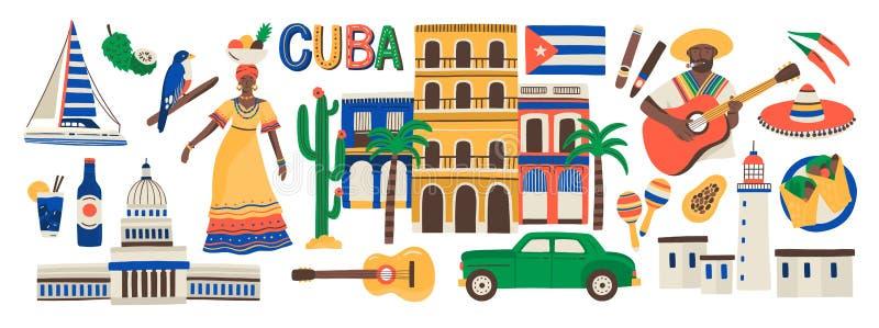 Собрание атрибутов Кубы изолированное на белой предпосылке - музыкальных инструментах, кубинськом роме, флаге, здании, sombrero иллюстрация штока