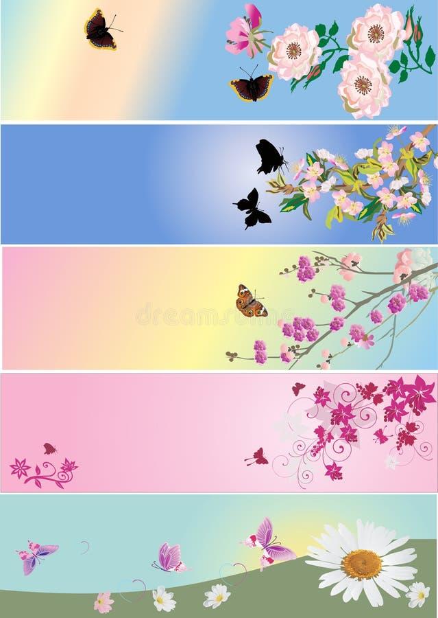 собрание бабочек цветет нашивки иллюстрация вектора