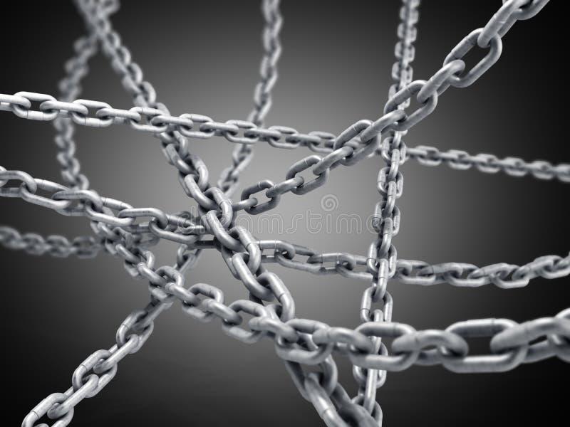 собрание безшовного металла приковывает покрашенный серебр 3d представляет дальше иллюстрация штока