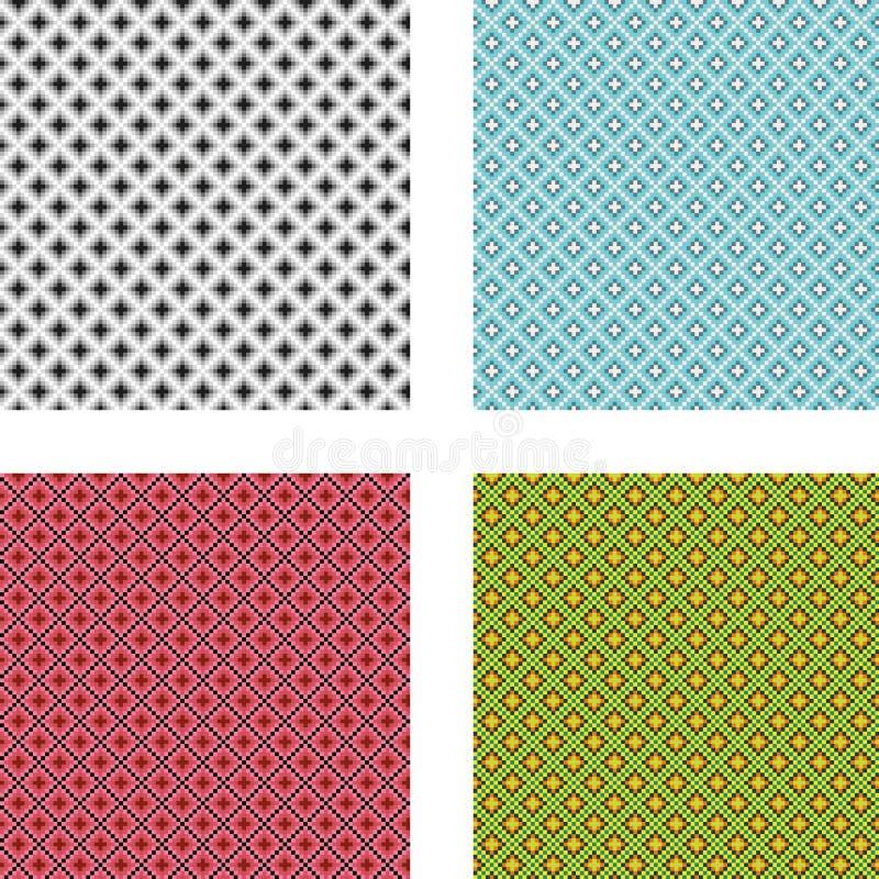 Собрание 4 безшовных геометрических картин иллюстрация штока