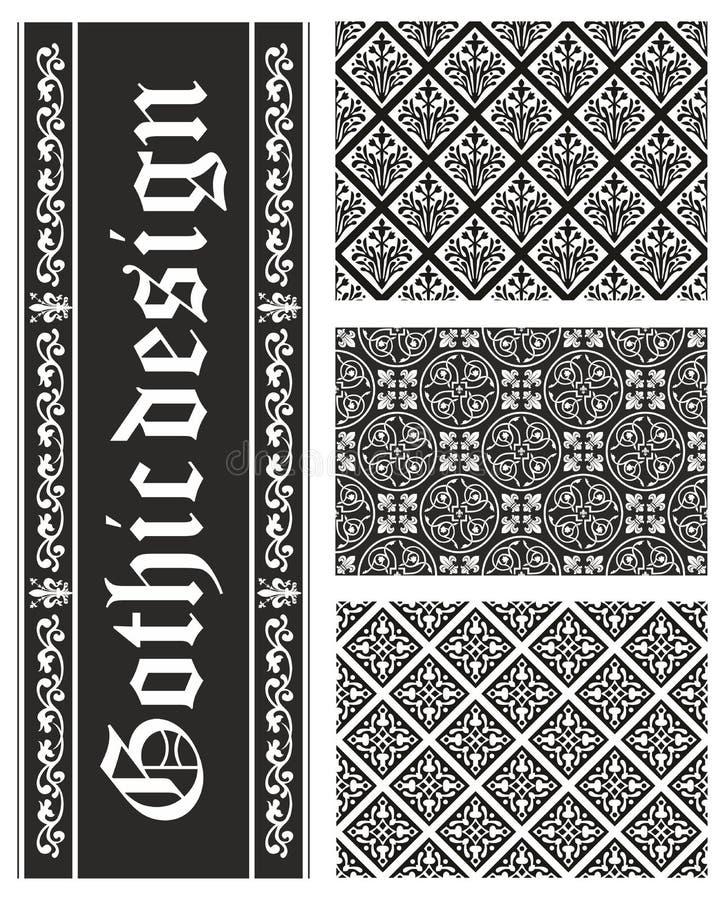 Собрание безшовных готских флористических текстур бесплатная иллюстрация