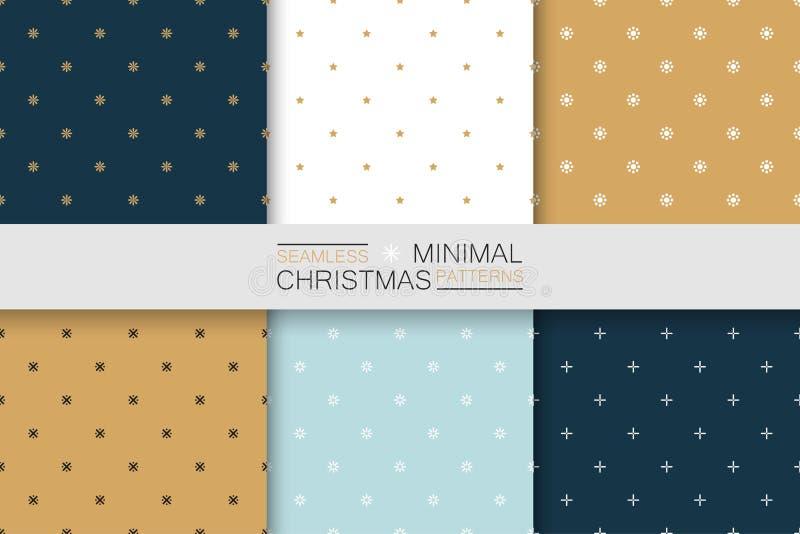Собрание безшовных картин рождества - minimalistic дизайн Простые красочные предпосылки бесплатная иллюстрация