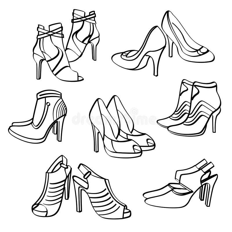 Собрание ботинок высоких пяток иллюстрация вектора