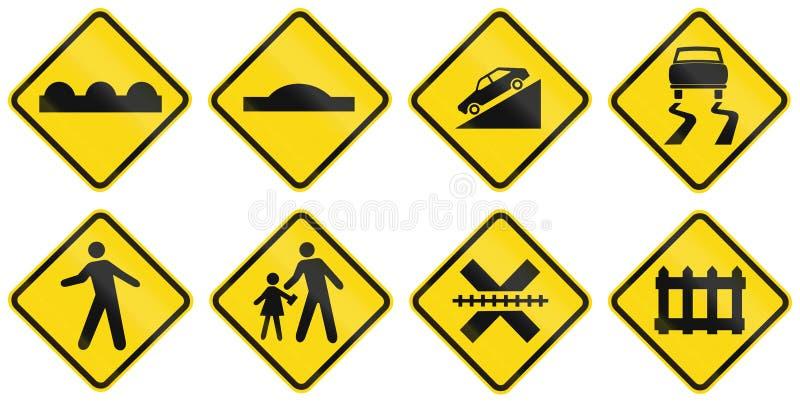 Собрание бразильских предупреждающих дорожных знаков иллюстрация вектора