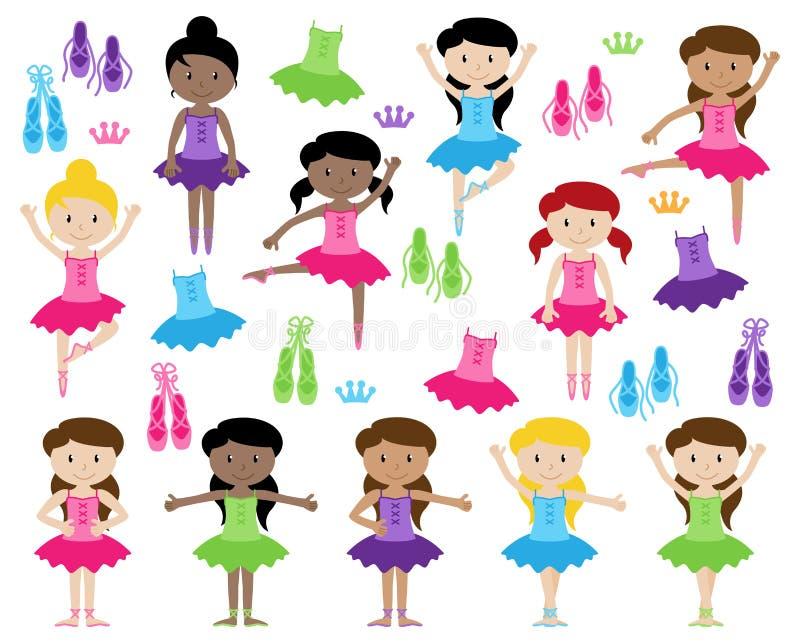 Собрание вектора балета тематическое с разнообразными девушками иллюстрация штока