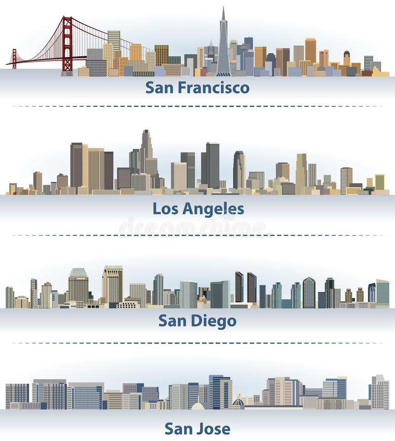 Собрание вектора горизонтов города Соединенных Штатов: Сан-Франциско, Лос-Анджелес, Сан-Диего и Сан-Хосе иллюстрация вектора