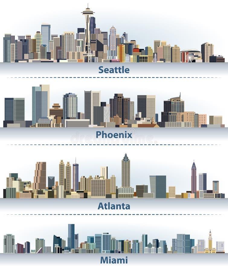 Собрание вектора горизонтов города Соединенных Штатов: Сиэтл, Феникс, Атланта и Майами иллюстрация вектора