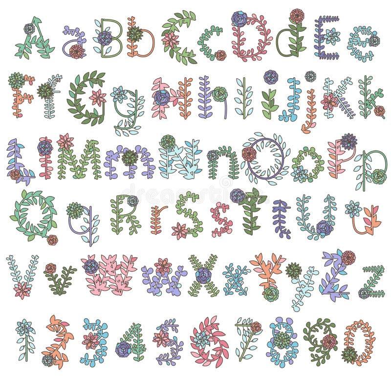 Собрание вектора детальных Succulent или писем и алфавита кактуса бесплатная иллюстрация