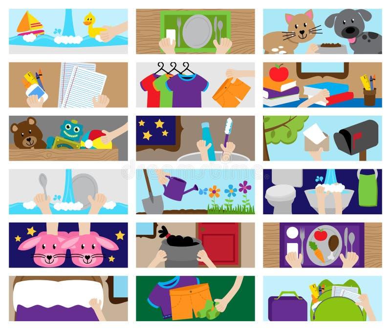 Собрание вектора деятельностей при диаграммы работы по дому или диаграммы работы иллюстрация штока