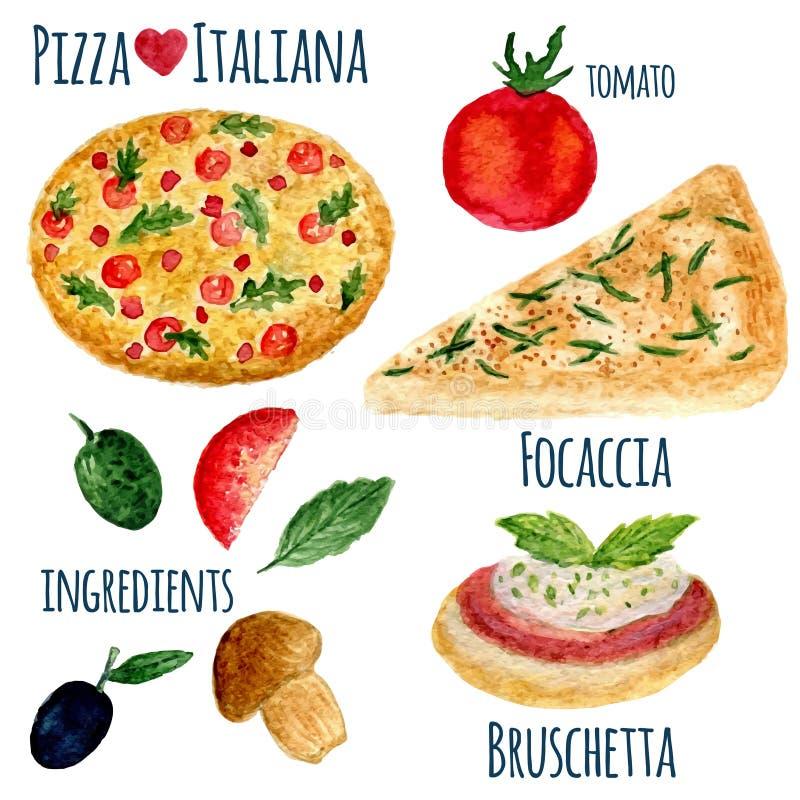 Собрание вектора изолированной иллюстрации пиццы акварели Комплект меню Italiana иллюстрация вектора
