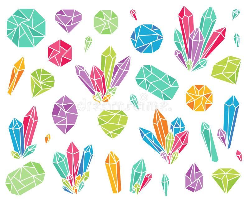 Собрание вектора красивых кристаллов и драгоценных камней бесплатная иллюстрация