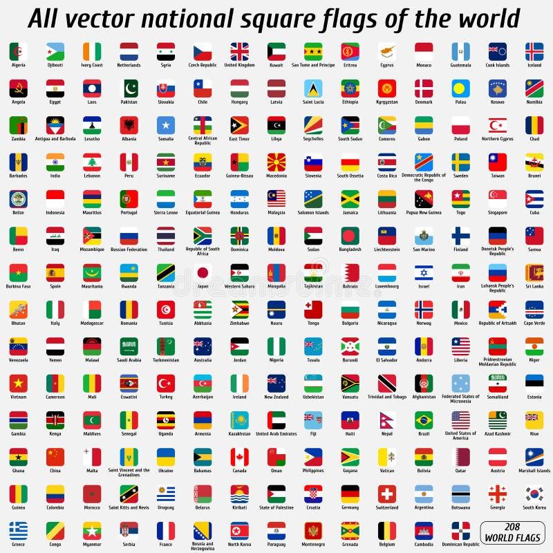 Собрание вектора 208 национальных квадратных флагов мира стоковое изображение