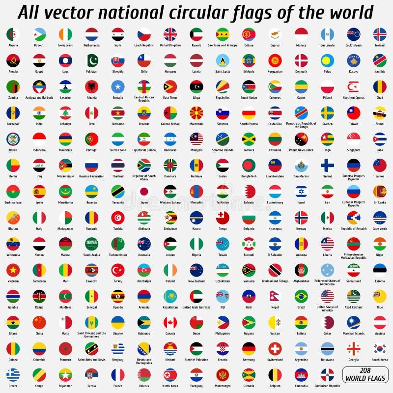 Собрание вектора 208 национальных круговых флагов мира стоковые фото