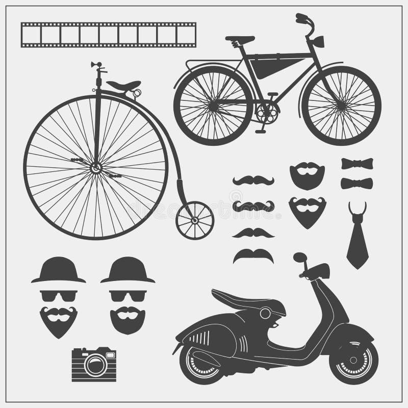 Собрание вектора объектов и знаков битника Декоративные элементы дизайна для карточки, приглашения, ярлыков и infographics бесплатная иллюстрация