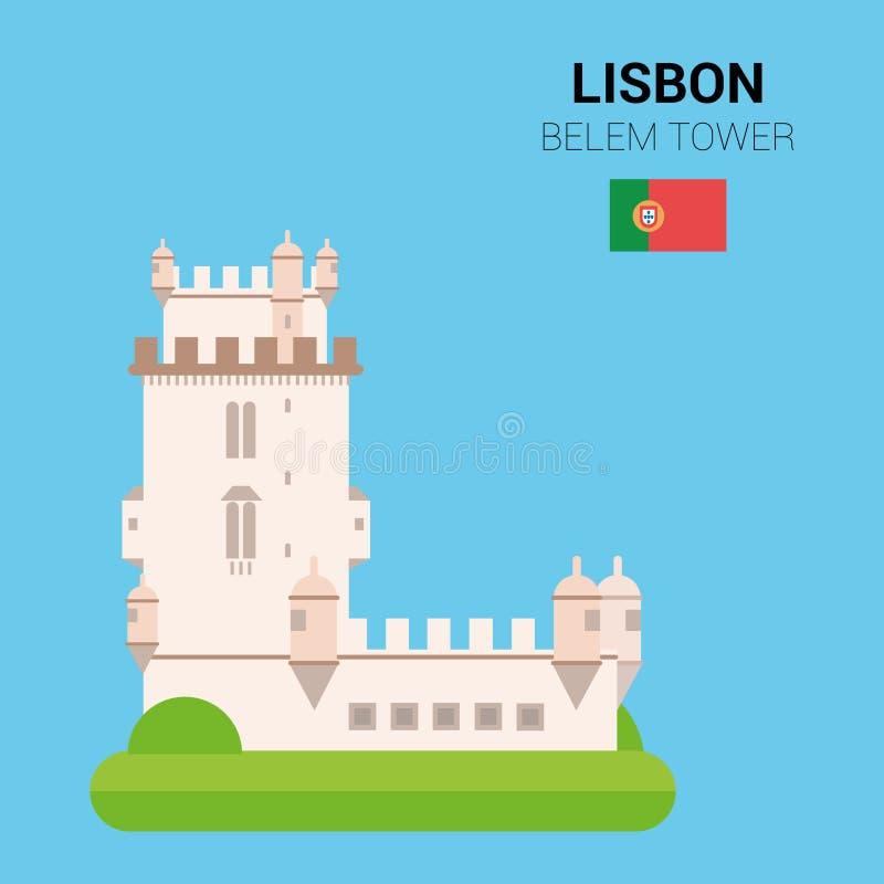 Собрание вектора памятников и ориентир ориентиров: Башня Belem бесплатная иллюстрация