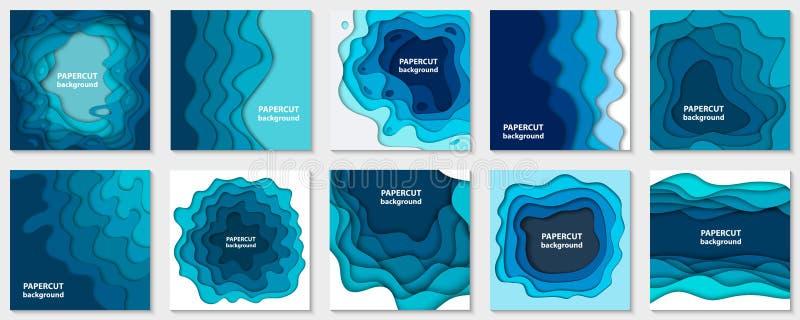 Собрание вектора 10 предпосылок с голубой бумагой отрезало формы иллюстрация вектора