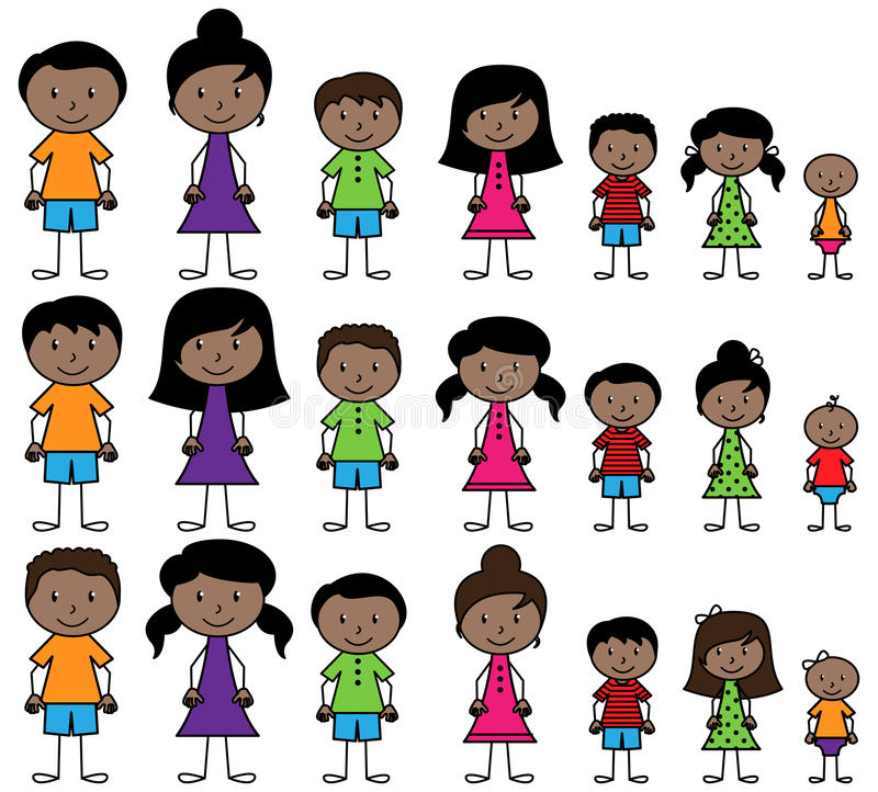 Собрание вектора разнообразных людей ручки в формате вектора иллюстрация штока