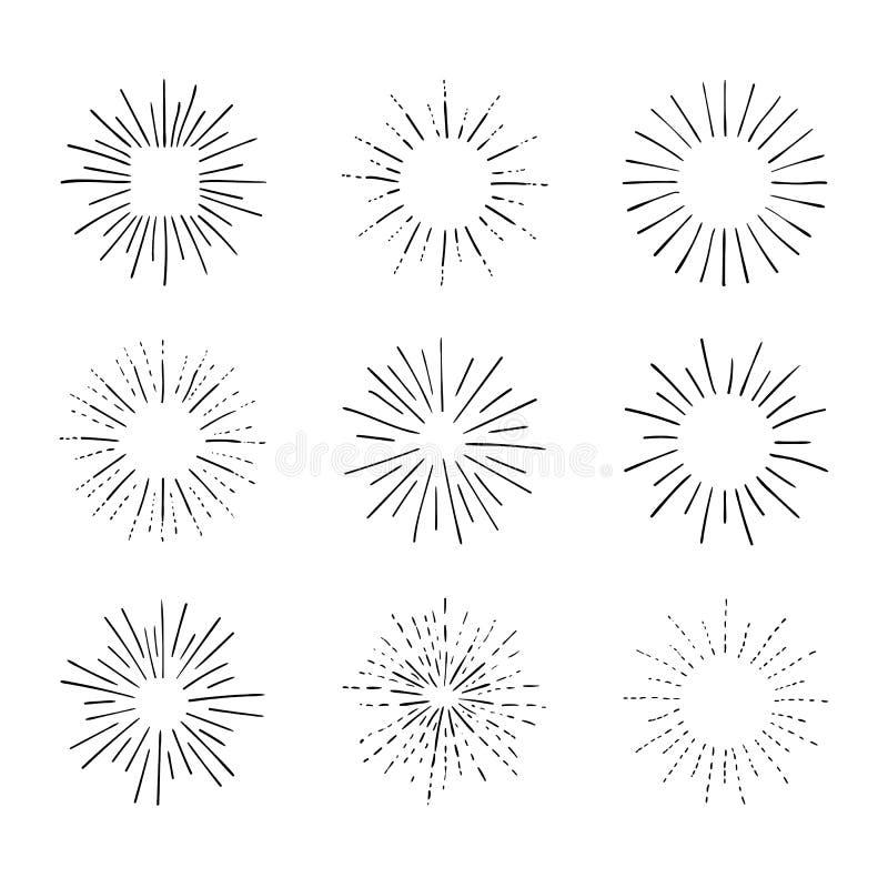 Собрание вектора ретро световых лучей, черных чертежей плана, винтажного собрания элементов дизайна эскиза иллюстрация штока