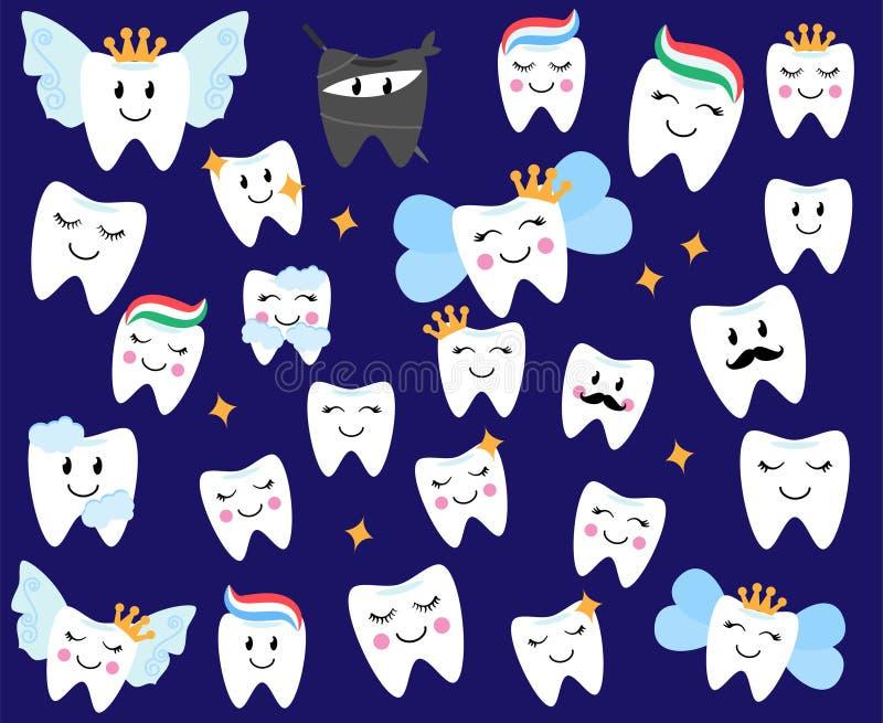 Собрание вектора счастливых зубов и фей зуба бесплатная иллюстрация