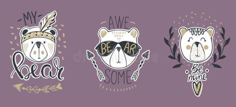 Собрание вектора с милыми медведями моды Стильный плюшевый медвежонок s иллюстрация штока
