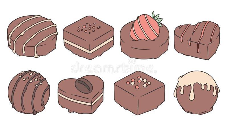 Собрание вектора установило различных вкусных шоколадов пралине мультфильма с застеклять и брызгает бесплатная иллюстрация