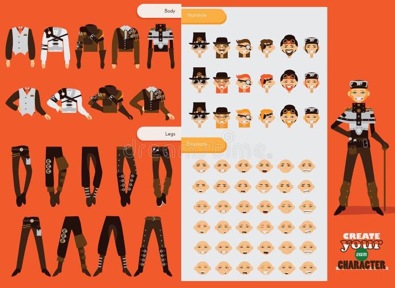 Собрание вектора установленное для характера steampunk творения мужского Молодой человек с различными эмоцией, стилем одежд и акс бесплатная иллюстрация