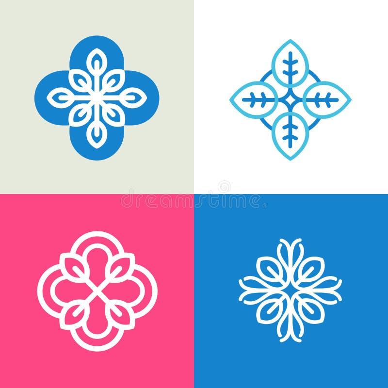 Собрание вектора шаблонов дизайна логотипа и абстрактных флористических эмблем в плоском линейном стиле иллюстрация вектора