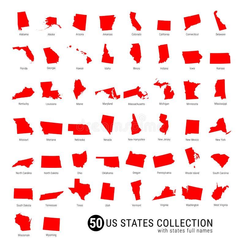 Собрание вектора 50 штатов США Высоко-детальные красные карты силуэта всех 50 положений Штаты США с полными именами стоковые фотографии rf