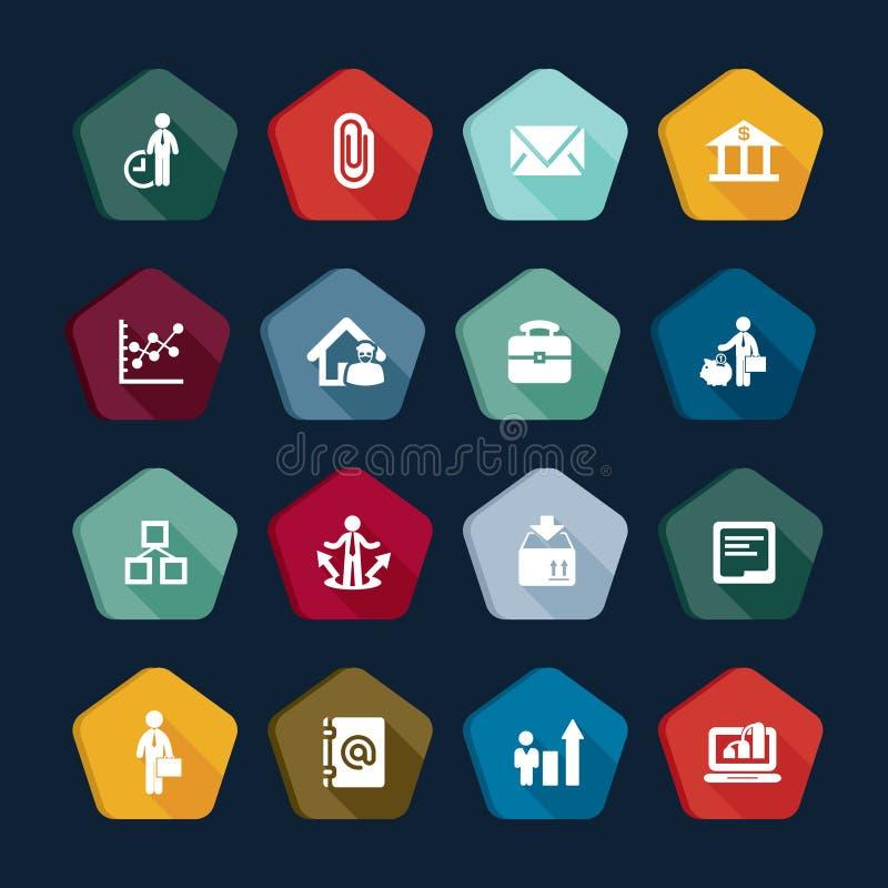 Собрание векторов дела значков: менеджер, корпорация, креня, выгода, деньги, управление иллюстрация вектора
