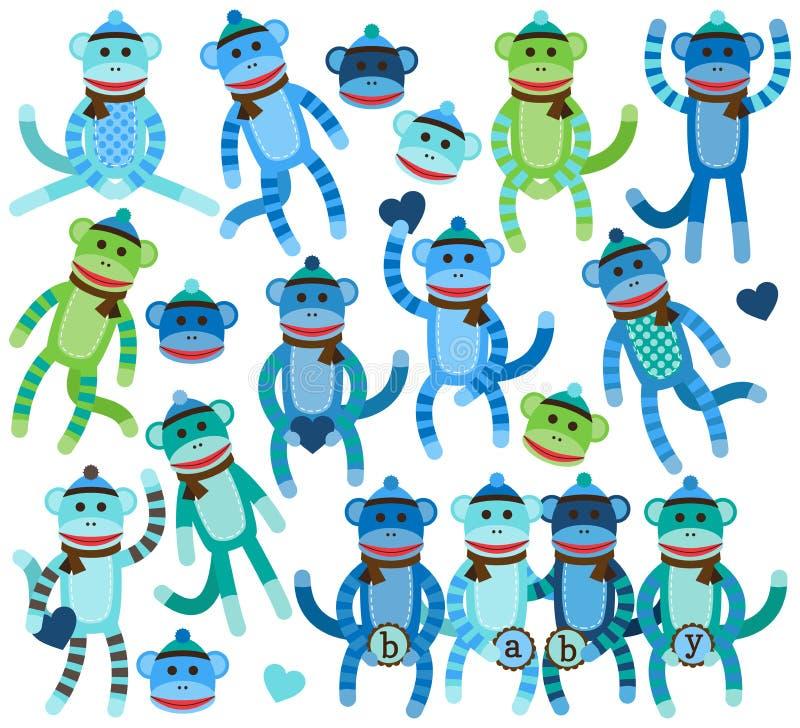 Собрание векторов обезьяны носка мальчика бесплатная иллюстрация