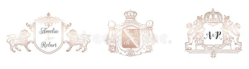 Собрание вензеля свадьбы, винтажные королевские шаблоны для карточек приглашения, сохраняет дату, идентичность логотипа ретро иллюстрация вектора