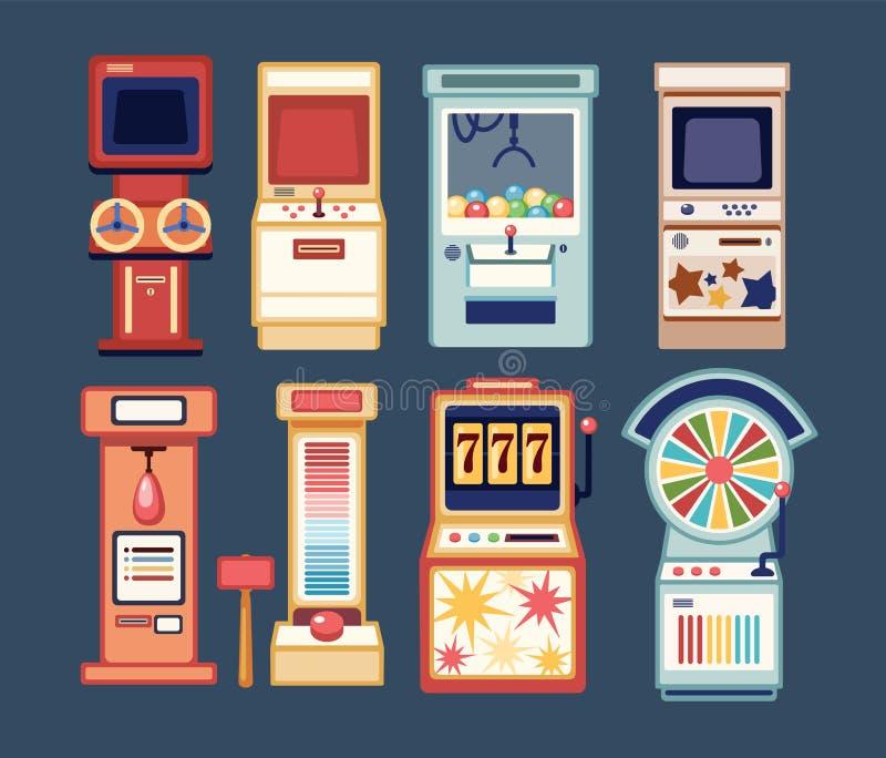 Собрание видеоигр аркады, монетки-ops и торговых автоматов казино играя в азартные игры изолированных на серой предпосылке Пачка  иллюстрация штока