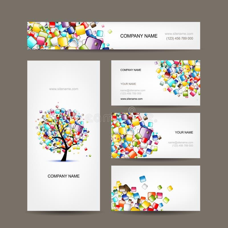 Собрание визитных карточек с дизайном дерева сети иллюстрация штока