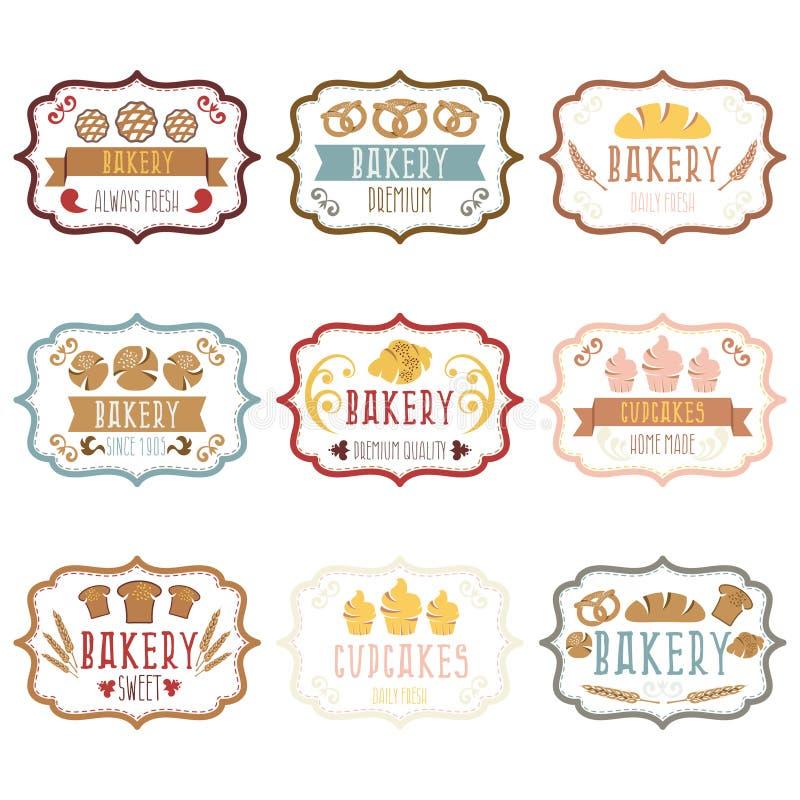 Собрание винтажного ретро логотипа хлебопекарни обозначает хлеб, pretze иллюстрация вектора
