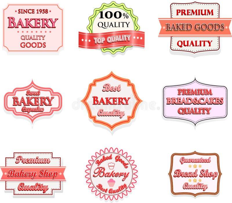 Собрание винтажных значков и ярлыков логотипа хлебопекарни иллюстрация вектора