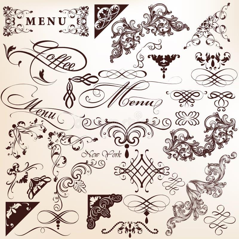 Собрание винтажных каллиграфических элементов для дизайна иллюстрация вектора
