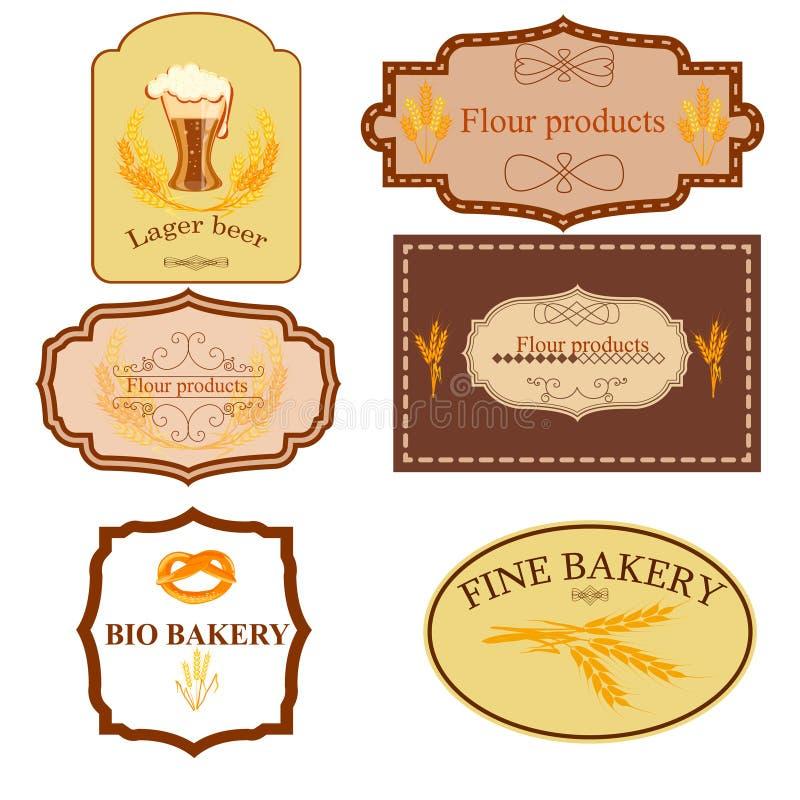Собрание винтажных ретро значков и ярлыков хлебопекарни бесплатная иллюстрация