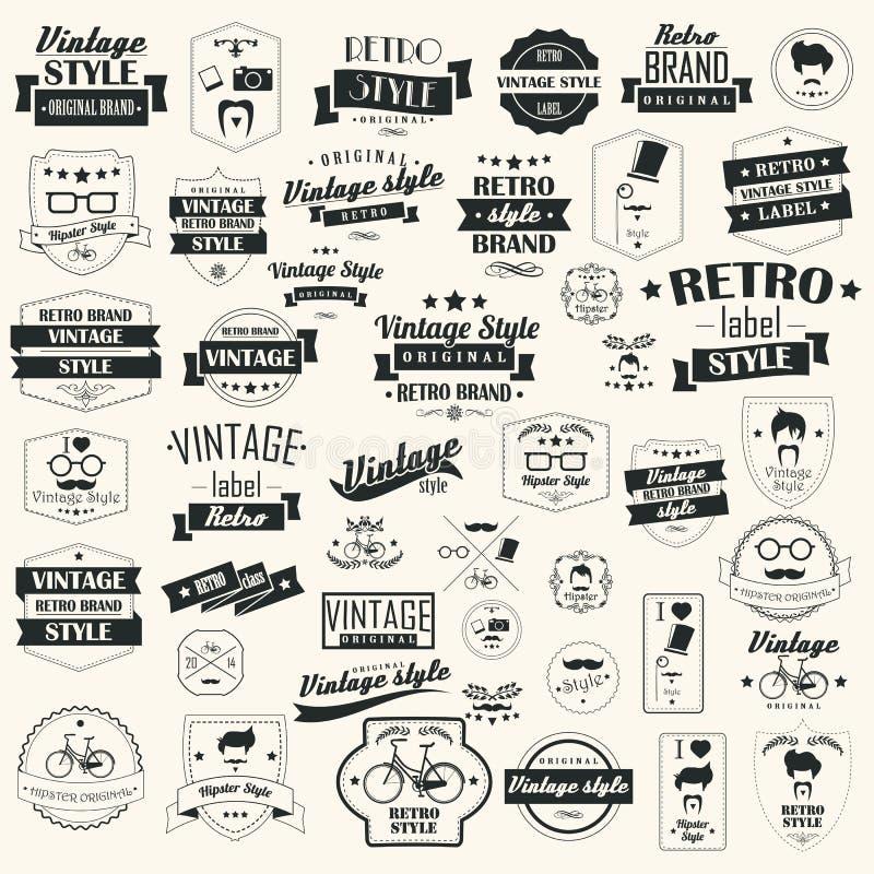 Собрание винтажных ретро ярлыков, значков, штемпелей, лент иллюстрация штока