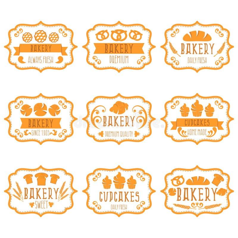 Собрание винтажных ретро ярлыков хлебопекарни с хлебом, кренделем иллюстрация вектора