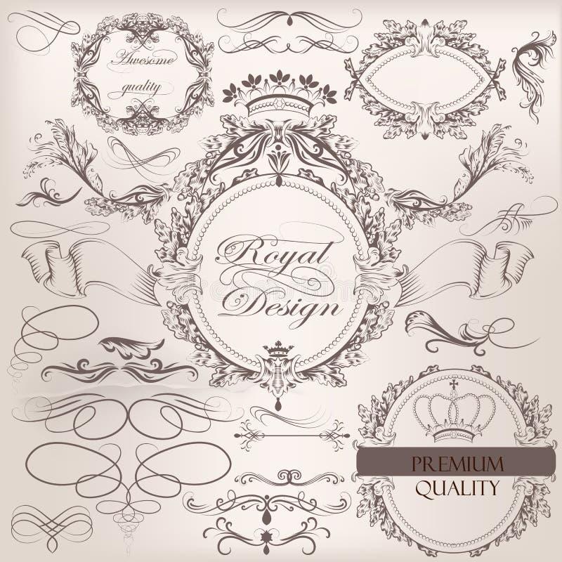 Собрание винтажных элементов дизайна вектора и украшения страницы иллюстрация штока