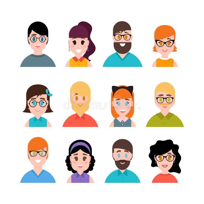 Собрание воплощений людей Мужские и женские портреты Характеры людей, мальчиков, девушек и женщин Простой плоский стиль шаржа бесплатная иллюстрация