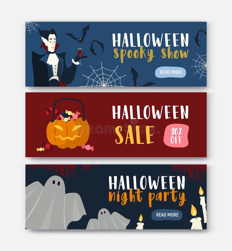 """Собрание горизонтальных шаблонов знамени сети праздника с характерами хеллоуина - вампир, Джек-o """"- фонарик, призрак иллюстрация вектора"""