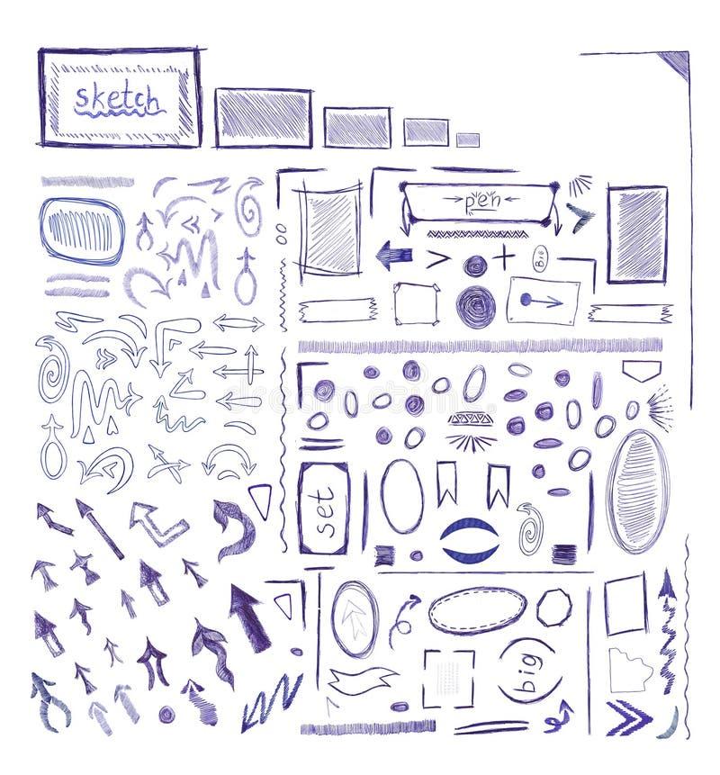Собрание голубого значка знака стрелки ручки иллюстрация штока