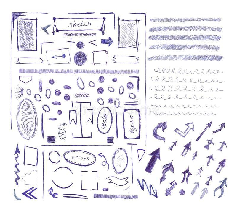 Собрание голубого значка знака стрелки ручки иллюстрация вектора