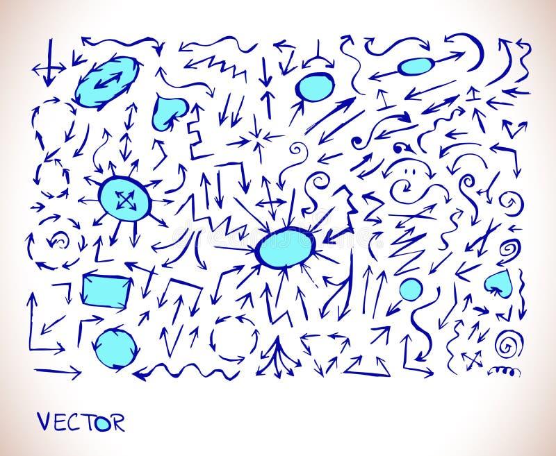 Собрание голубого значка знака стрелки иллюстрация штока