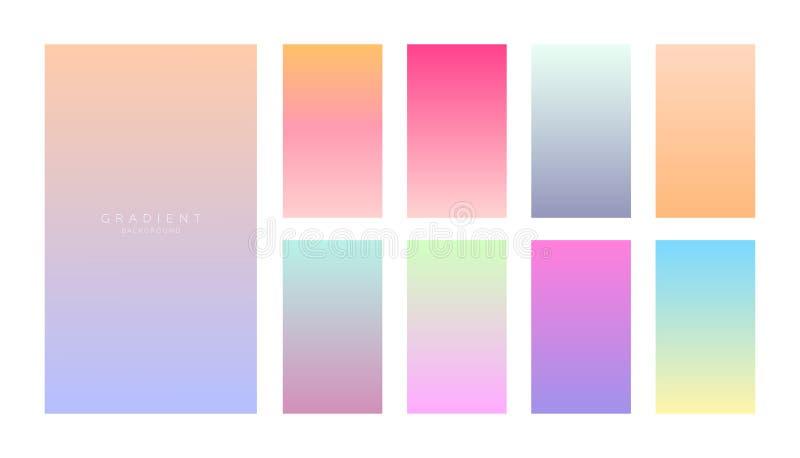 Собрание градиентов Экраны смартфона с мягкими цветами Абстрактный набор предпосылок иллюстрация вектора