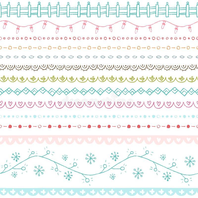 Собрание границ зимы нарисованное рукой безшовное иллюстрация штока